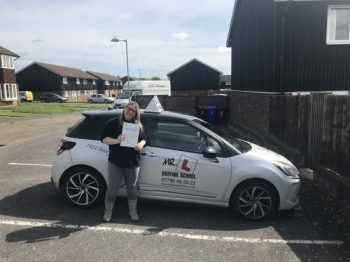 Congratulations to Jody Davy from Newmarket who passed 1st time in Cambridge on the 3-5-18 after taking driving lessons with MR.L Driving School.