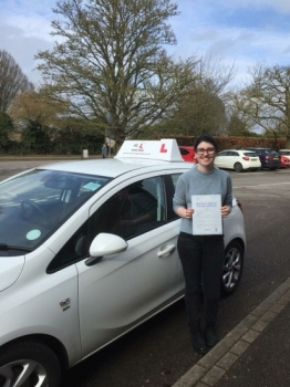 Congratulation to Rhiannon Barton from Ely who passed 1st time with just 1 minor fault in Cambridge on the 5-3-18 after taking driving lessons with MRL Driving School