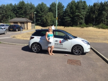 Congratulations to Lucy Girod from Mildenhall who passed 1st time in Cambridge on the 2-8-18 after taking driving lessons with MR.L Driving School.