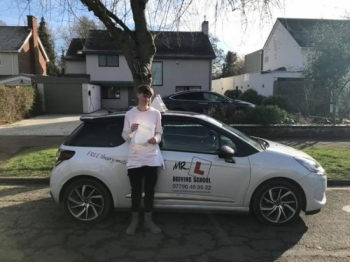 Congratulations to Adam Hill from Burwell who passed in Cambridge on the 7-2-18 after taking driving lessons with MRL Driving School