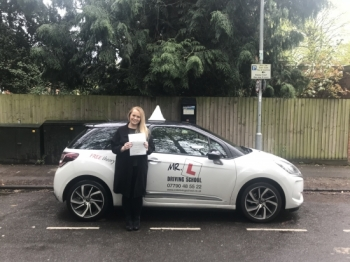 Congratulations to Nicola Compton from Cambridge who passed her driving test 1st time on the 27-4-18 after taking driving lessons with MR.L Driving School.