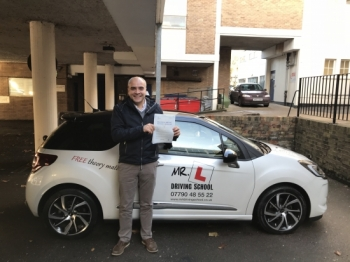 Congratulations to Francisco Brahm from Cambridge who passed 1st time on the 18-12-17 after taking driving lessons with MRL Driving School