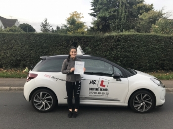 Congratulations to Katie Gearing from Newmarket who passed in Cambridge on the 12-10-17 after taking driving lessons with MRL Driving School