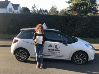 Congratulations to Lynsey Smith from Burwell who passed in Cambridge on the 17-1-18 after taking driving lessons with MRL Driving School