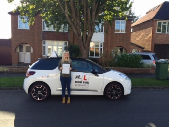 Congratulations to Anelisha Scott from Ely who passed 1st time in Cambridge on the 25-9-15 after taking driving lessons with MRL Driving School