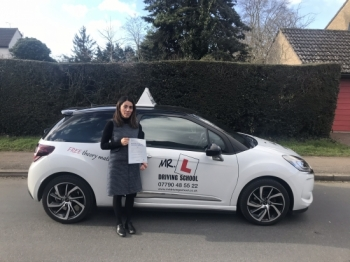 Congratulations to Virginia Vasconez who passed 1st time in Cambridge on the 26-2-18 after taking driving lessons with MRL Driving School
