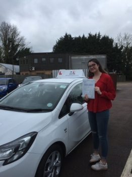 Congratulations to Melanie Arbon-West from Fulbourn who passed first time in Cambridge on the 3-4-18 just 1 week after turning 17 after taking lessons with MR.L Driving School.