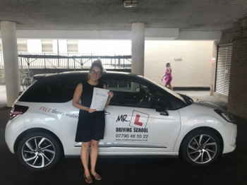 Congratulations to Emily Peachey from Linton who passed in Cambridge on the 22-8-18 after taking driving lessons with MR.L Driving School.<br />
