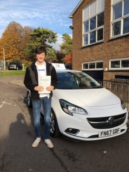 Congratulations to George Mavroghenis who passed 1st time in Bury St Edmunds on the 9-11-18 after taking driving lessons with MR.L Driving School.