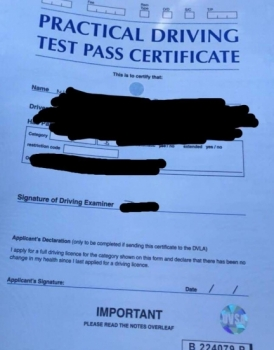 Congratulations to William Vandepeer who passed in Bury St Edmunds on the 4-4-19 after taking driving lessons with MR.L Driving School.