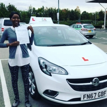 Congratulations to Chipo Kuleya who passed in Cambridge on the 3-10-19 after taking driving lessons with MR.L Driving School.