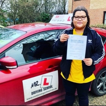 Congratulations to Queenie Lomboy who passed in Cambridge on the 8-1-20 after taking driving lessons with MR.L Driving School.