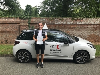Congratulations to Charlie Jones from Cheveley who passed his driving test 1st time on the 21-7-17 in Cambridge after taking driving lessons with MRL Driving School