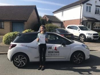 Congratulations to Hannah Sharplin from Bar Hill who passed 1st time in Cambridge with just 2 minor faults on the 25-8-17 after taking driving lessons with MRL Driving School