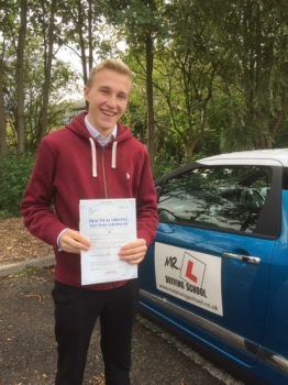 Congratulations to Callum Fordham from Exning who passed 1st time in Cambridge on the 15-9-17 after taking driving lessons with MRL Driving School