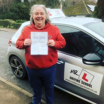 Congratulations to Karen Plume from Lakenheath who passed 1st time in Cambridge on the 5-2-19 after taking driving lessons with MR.L Driving School.