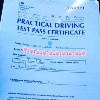 Congratulations to Jasmine Denniss from Bar Hill who passed in Cambridge on the 5-3-19 with ZERO driving faults after taking driving lessons with MR.L Driving School. An incredible achievement.