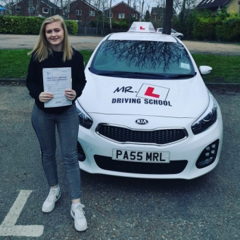 Congratulations to Sarah Stebbings who passed in Cambridge on the 20-3-19 after taking driving lessons with MR.L Driving School.