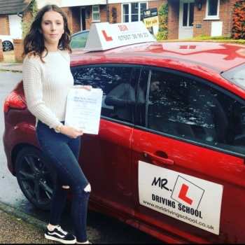 Congratulations to Crystal Newton from Newmarket who passed in Bury St Edmunds on the 16-10-19 after taking driving lessons with MR.L Driving School.