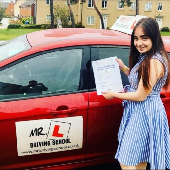 Congratulations to Martyna Majchrzak from Red Lodge who passed 1st time in Cambridge on the 21-10-19 after taking driving lessons with MR.L Driving School....