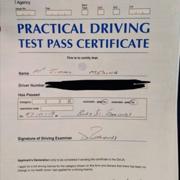 Congratulations to Jimmy Medina who passed 1st time in Bury St Edmunds on the 7-11-19 after taking driving lessons with MR.L Driving School.