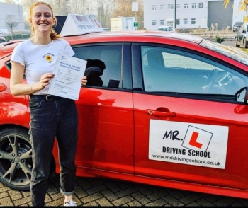 Congratulations to Lucy Cryer who passed 1st time in Cambridge on the 30-11-19 after taking driving lessons with MR.L Driving School.
