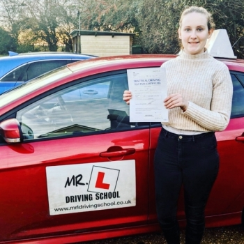 Congratulations to Alice Doick who passed 1st time in Cambridge on the 3-12-19 after taking driving lessons with MR.L Driving School.