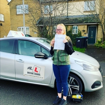Congratulations to Carolyn Ruby Parker from Ely who passed 1st time in Cambridge on the 27-1-20 after taking driving lessons with MR.L Driving School.