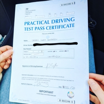 Congratulations to Sarah from Cambridge who passed on the 1-2-20 after taking driving lessons with MR.L Driving School.