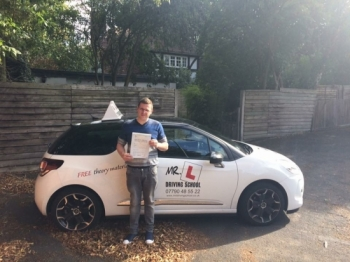 Congratulations to Chris from Newmarket who passed 1st time in Cambridge on the 9-9-16 after taking driving lessons with MRL Driving School