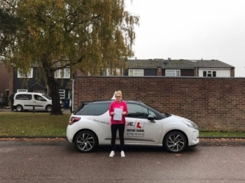 Congratulations to Steph who passed 1st time in Cambridge on the 9-11-16 after taking driving lessons with MRL Driving School