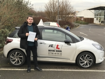 Congratulations to Jamed Doughty who passed his driving test 1st time in Cambridge on the 9-12-16 after a 40hr intensive course
