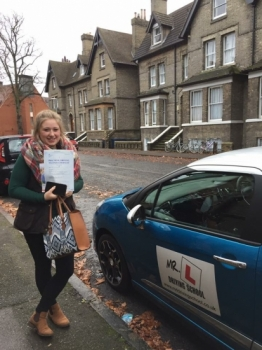 Congratulations to Jessica Savory from Fulbourn who passed in Cambridge on the 21-12-16 after taking driving lessons with MRL Driving School