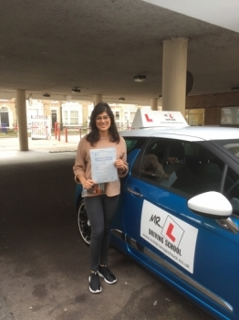 Congratulations to Alysha Pancholi from Newmarket who passed first time with only 2 minor faults in Cambridge on the 17-2-17 after taking driving lessons with MRL Driving School