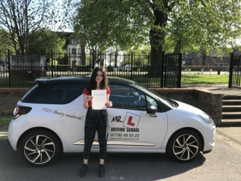 Congratulations to Aminna Harb who passed her driving test in Cambridge on the 6-4-17 after taking driving lessons with MRL Driving School