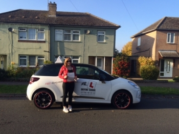 Congratulations to Immy Harris from Newmarket who passed 1st time in Cambridge on the 26-10-15 after taking driving lessons at MRL Driving School