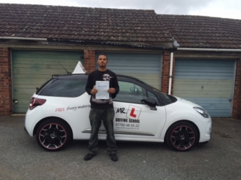 Congratulations to Jamie from Newmarket who passed 1st time in Cambridge on the 8-9-15 after taking driving lessons with MR L Driving School