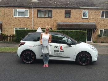 Congratulations to Lauren from Newmarket who passed 1st time in Cambridge on the 23-7-15 after taking driving lessons with MR L Driving School