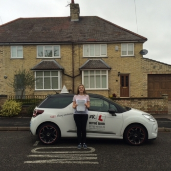 Congratulations to Mia from Cambridge who passed 1st time on the 22-9-15 after taking driving lessons at MR L Driving School