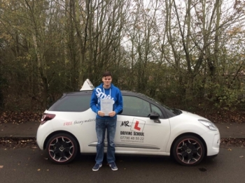 Congratulations to Richard Barker who passed 1st time in Cambridge on the 24-11-15 after taking driving lessons with MRL Driving School