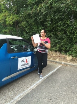 Congratulations to Jini Thomas from Cherry Hinton who passed in Cambridge on the 16-8-16 after taking driving lessons with MRL Driving School