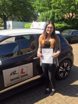 Congratulations to Sophie Day from Cambridge who passed first time on the 6-6-16 after taking driving lessons with MRL Driving School