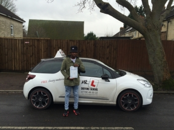 Congratulations to Victor from Cambridge who passed on the 22-2-16 after taking driving lessons with MRL Driving School