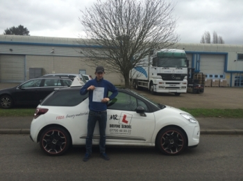 Congratulations to Michael from Newmarket who passed 1st time in Cambridge on the 29-1-16 after taking driving lessons with MRL Driving School