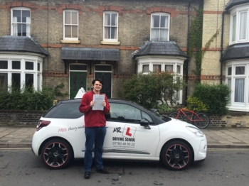 Congratulations to Saxon from Cambridge who passed on the 2-6-16 after taking driving lessons with MRL Driving School