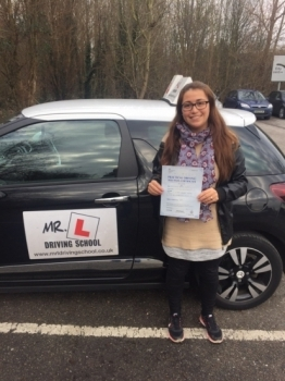 Congratulations to Estefania Lopez from Ely who passed 1st time in Cambridge on the 8-3-16 after taking driving lessons with MRL Driving School