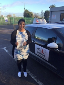 Congratulations to Preethi Suresh from Cambridge who passed 1st time on the 8-1-16 after taking driving lessons with MRL Driving School