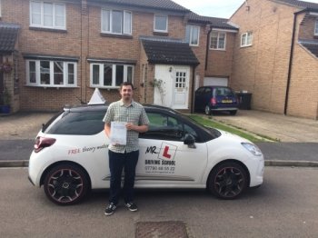 Congratulations to Thomas from Hardwick who passed 1st time in Cambridge on the 15-7-16 after taking driving lessons with MRL Driving School
