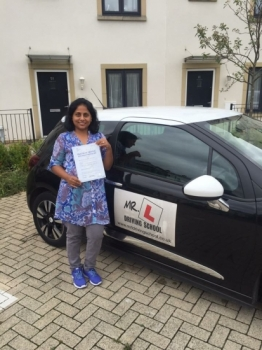 Congratulations to Kavitha from Cambridge who passed 1st time on the 4-9-16 after taking driving lessons with MRL Driving School