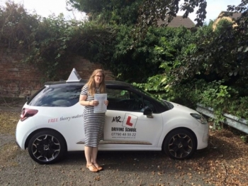 Congratulations to Erin Marley from Newmarket who passed in Cambridge on the 28-8-16 after taking driving lessons with MRL Driving School